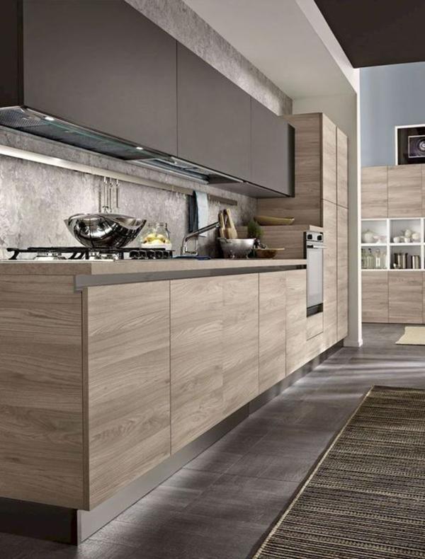 Tủ bếp mdf phủ melamine vân gỗ