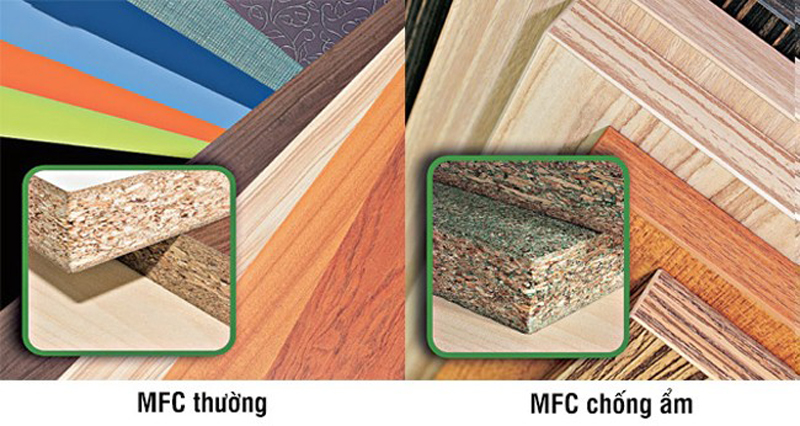 gỗ mfc thường và mfc chống ẩm