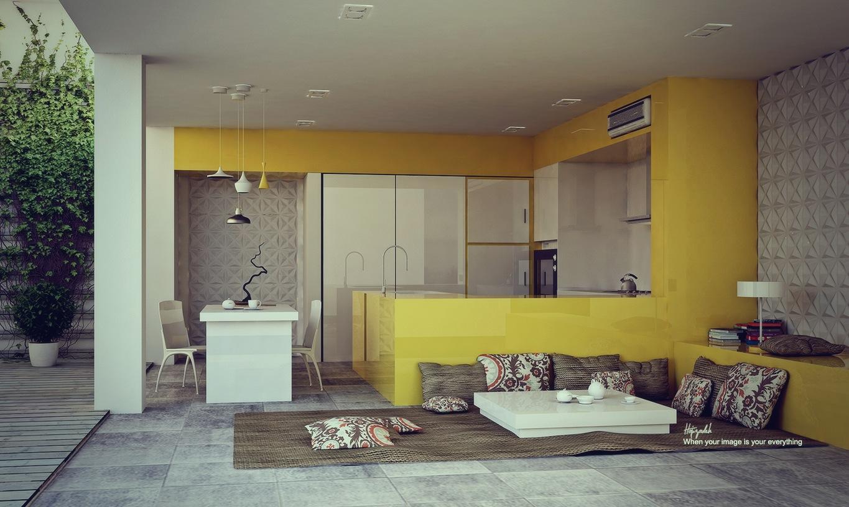 Tủ bếp tông vàng