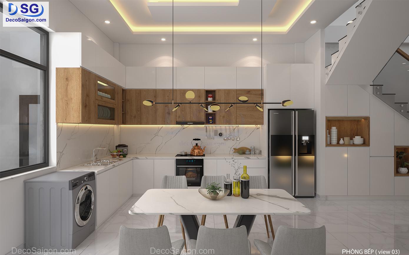 Thi công mẫu tủ bếp đẹp hiện đại nhà ông Đạt