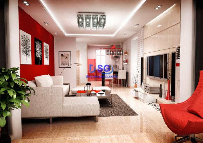 Phòng khách tông đỏ