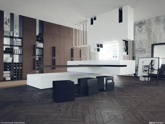 Bếp đen và trắng