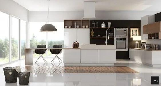 Tủ bếp đne và trắng