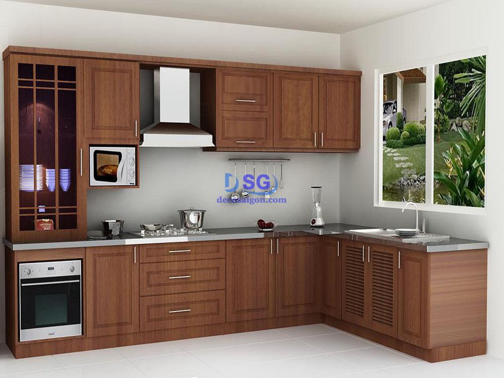 tủ bếp veneer vân gỗ giá rẻ