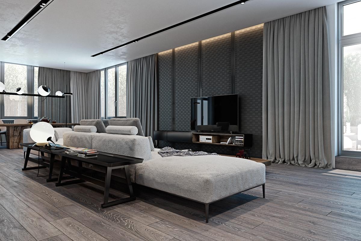 Nên chọn màu sàn cùng tông với tường màu xám